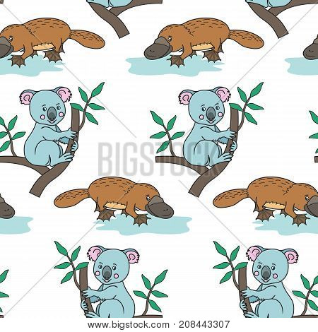 Platypus.Australian animal. Koala on a eucalyptus tree branches. vector illustration for children.Seamless pattern.Cute cartoon on a white background.Print for textile, paper, scrapbooking, wallpapers.