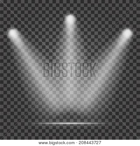Light Beam On Transparent Background. Realistic Spotlight Light Beams For Stage
