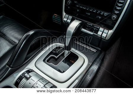 automatic transmission of the European car with shift levers located next to the driver's seat