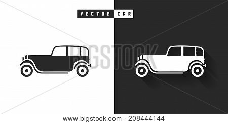 Vector silhouette of car icon on black and white background