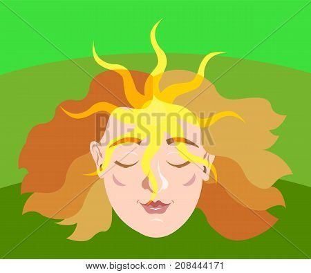 Female head with sun shining on forehead.  Spirituality, peace, mindful, meditation concept illustration vector.