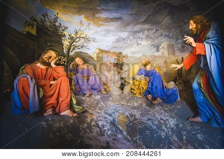 biblical scene representation (presepe) of Jesus Christ awakens the sleeping disciples(Sacro Monte di Varallo Piedmont Italy May 24 2017)