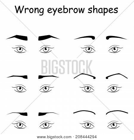 Female eyes and eyebrows vector elements. How to make perfect brows