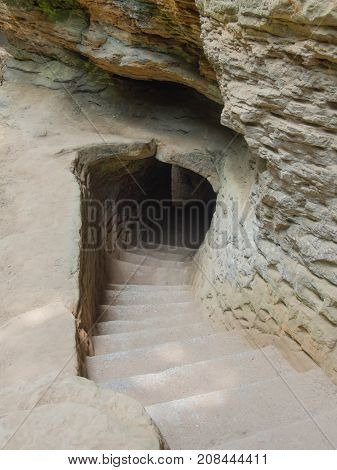 Covered Stone Stairwell at Old Mans Cave in Hocking Hills in Central Ohio