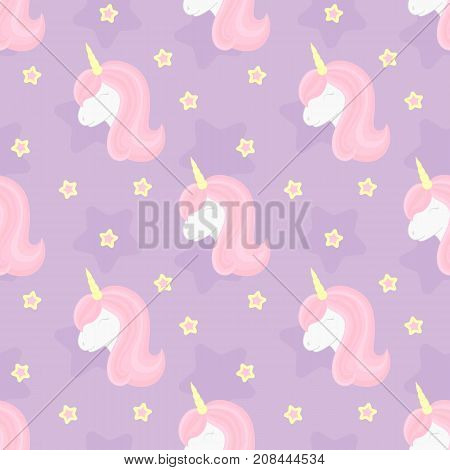 Seamless pattern with cute unicorn and stars. Beautiful unicorn head with pink mane and horn. Vector illustration.