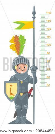 Meter wall or height chart of boy in knight s armor with spear with flag and shield. Children vector illustration with a scale from 50 to 140 centimeters to measure growth