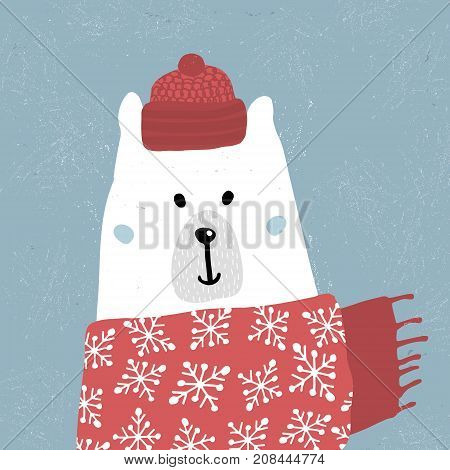Cute winter polar bear in scarf and hat. Holiday and christmas illustration. It can be used for greeting card posters apparel