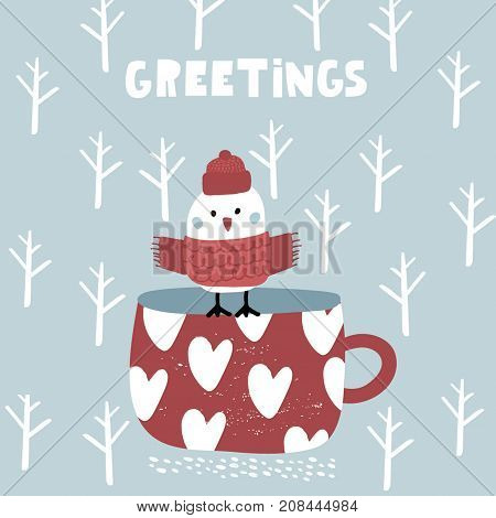 Cute winter greeting background with bird on mug. Holiday and christmas illustration. It can be used for greeting card posters apparel