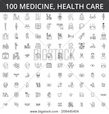 Medicine, doctor, health care, hospital, modern clinic, healthcare, cardiology, illness, ophthalmology gynecology medical therapyline icons signs Illustration vector concept Editable strokes