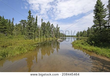 Calm Waters on a Quiet Inlet on Missing Link Lake in The Boundary Waters of Minnesota