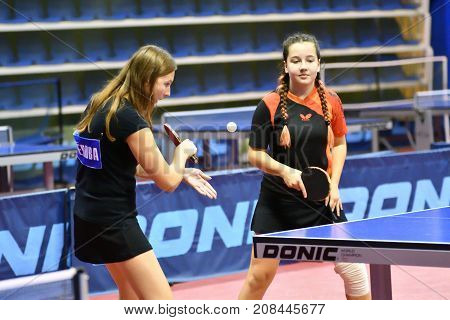Orenburg, Russia - September 15, 2017 Year: Girl Playing Ping Pong