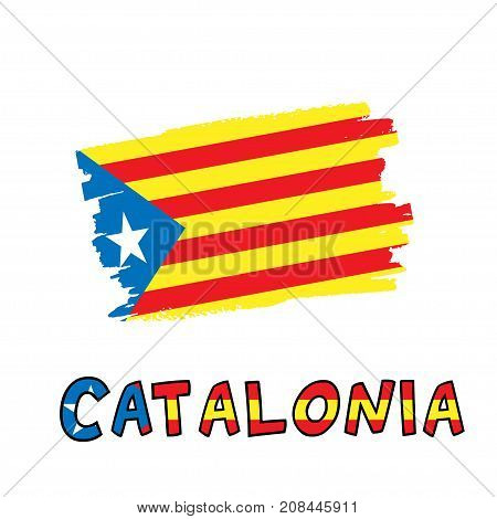 Catalonia blue estelada national flag painted as colorful brush stroke and typography text with same colors isolated on a white background. Vector illustration for cards, banners, print, web.