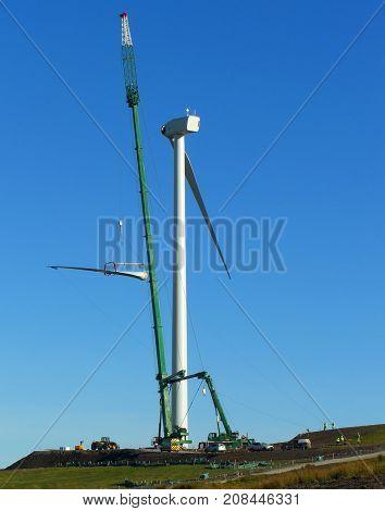 Wind Turbine Blade Installation.