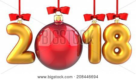 Happy New Year 2018 banner with red ribbon and bow. Text 2018 made in the form of a golden and red Christmas ball. 3D illustration