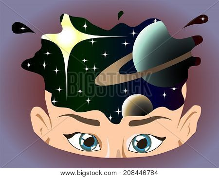 Human head with elements of space. Universe inside your mind. Spirituality, chakra power, mindfulness concept illustration vector.