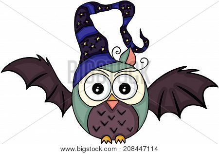 Scalable vectorial image representing a Halloween bat owl with witch hat, isolated on white.