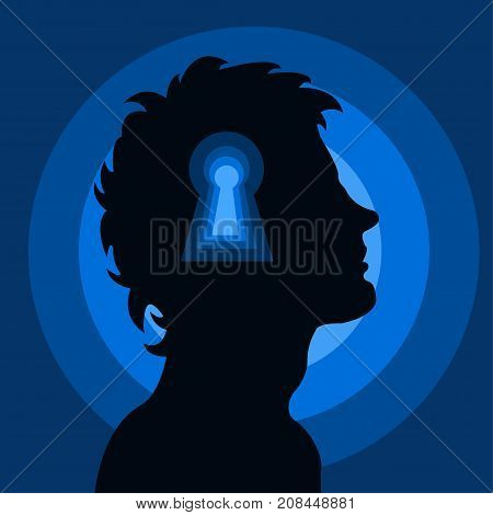 Human head with keyhole. Open mind. Psychology, thinking, intelligence, mindfulness concept illustration vector.