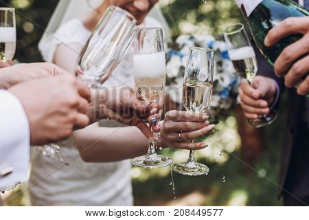Happy Group Of People Toasting With Champagne. Woman Holding Glass Of Champagne. Bride Bridesmaids A