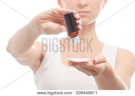 Woman female hands lotion cotton pad on white background isolation
