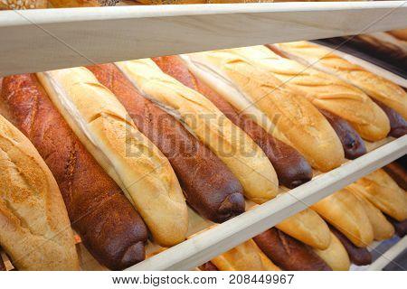 Rows of fresh bread loafs lying on the shelf