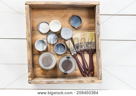 Preparation For The Renovation Of The Wooden Box With Brushes, S