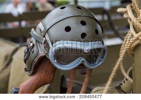 Aviator helmet with glasses of World War II poster