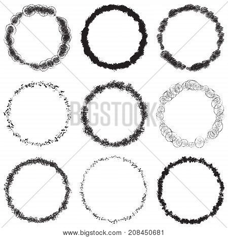 Circle grunge scratched lable background. Distressed post Stamp texture set. Aged bold thin round cover template. Used circular icon, badge, button backdrop. Elements aging your design. EPS10 vector.