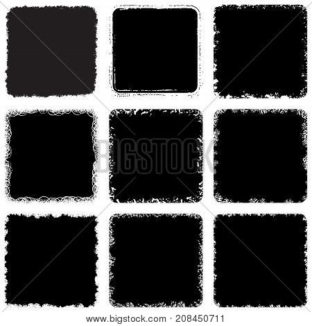 Distressed square Stamp texture set. Grunge scratched lable background. Aged bold cover template. Used dark icon, badge, button backdrop. Elements aging your design. EPS10 vector.