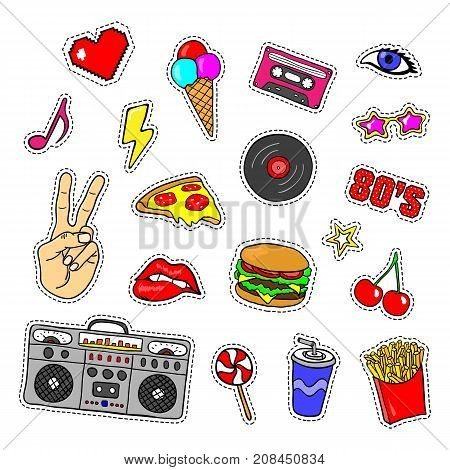Pop art stickers with tape recorder cassette vinyl record fast food hand lips and other elements. Set of pins patches in cartoon 80s-90s retro comic style.