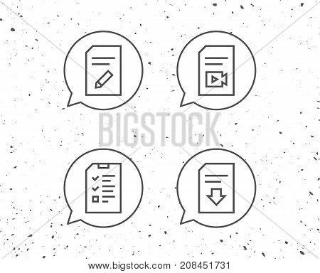 Document, Checklist And Download File Line Icons.