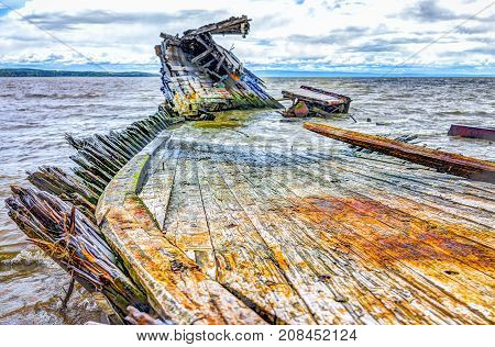 Baie-saint-paul In Quebec, Canada Shipwreck In Water With Waves With Colorful Wood Panels