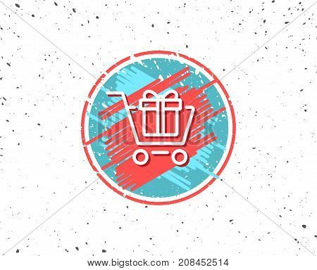 Shopping Cart With Gift Box Line Icon.
