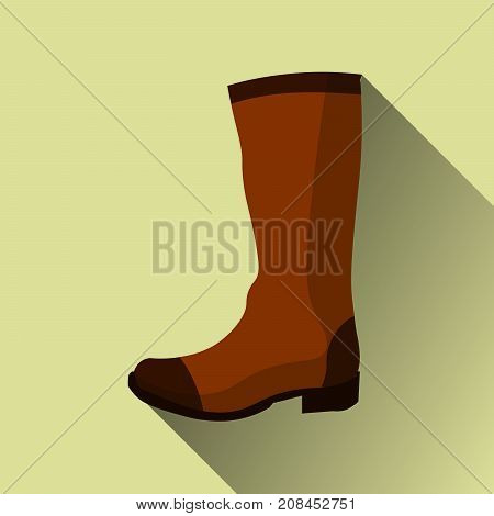 hight leather boots icon with long shadow on yellow. vector illustration eps10