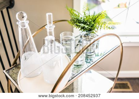 Macro Closeup Of Serving Tray Stand With Empty Glasses And Plant In Staging Model House, Home Or Apa
