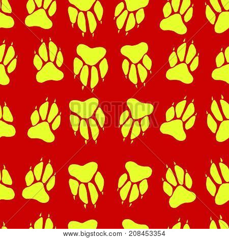 Bright yellow color paw print dog imprint seamless pattern red background vector hand drawing animal track cartoon funny paw illustration.