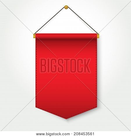 Red Pennant Template Hanging on Wall, Blank Flag Banner, Empty poster mockup. Vector