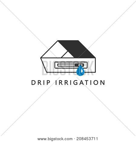 A simple clean drip irrigation symbol. Drip tape. Emitter and a drop of water. Vector icon.