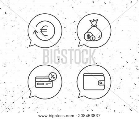 Money, Cashback And Wallet Line Icons. Coins.