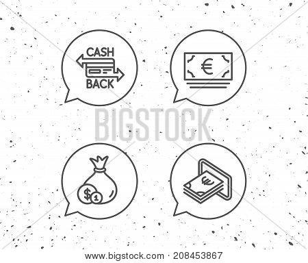 Money Bag, Cashback And Atm Line Icons.