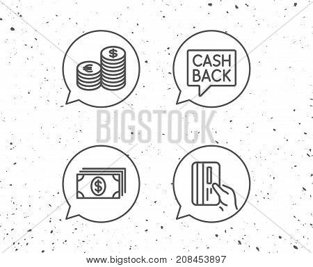 Money, Cash And Credit Card Line Icons. Coins.