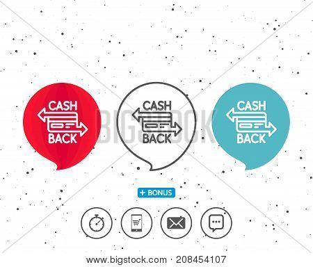 Credit Card Line Icon. Cashback Service.