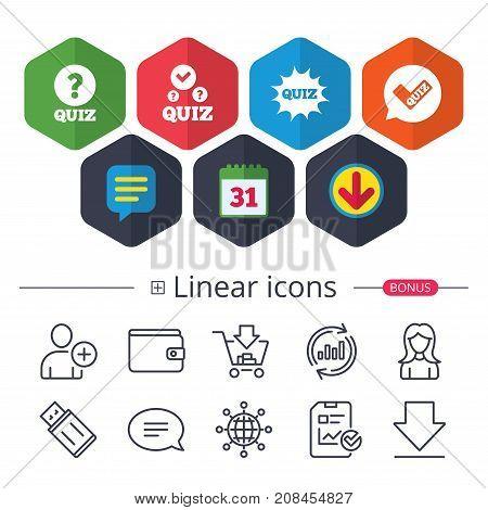 Quiz Icons. Speech Bubble With Check Mark Symbol.