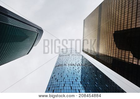 low angle view on modern buildings made of glass