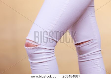 Tight White Trousers Jeans With Holes On Knees