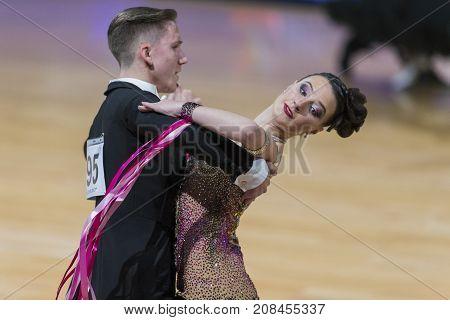 Minsk Belarus-October 7 2017: Dance Couple of Sabolevskiy Iliya and Unton Nataliya Performs Adults European Standard Program on WDSF International Capital Cup Minsk- 2017 in October 7 2017 in Minsk Belarus.