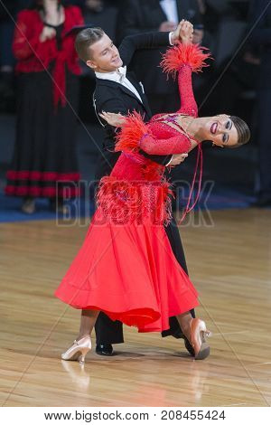 Minsk Belarus-October 7 2017: Dance Couple of Volkov Iliya and Stasyuk Ekaterina Performs Adults European Standard Program on WDSF International Capital Cup Minsk- 2017 in October 7 2017 in Minsk Belarus.