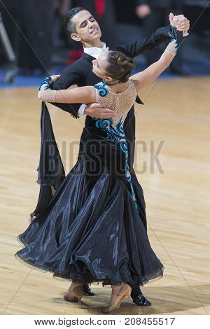 Minsk Belarus-October 7 2017: Dance Couple of Krestianinov Dmitry and Fomina Anna Performs Adults European Standard Program on WDSF International Capital Cup Minsk- 2017 in October 7 2017 in Minsk Belarus.