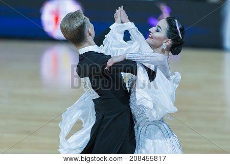 Minsk Belarus-October 7 2017: Dance Couple of Tyasto Danila and Gunko Elizaveta Performs Adults European Standard Program on WDSF International Capital Cup Minsk- 2017 in October 7 2017 in Minsk Belarus.