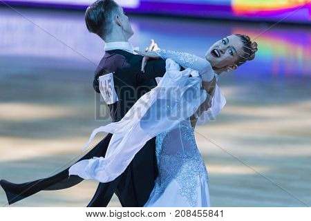 Minsk Belarus-October 7 2017: Dance Couple of Magdisyuk Andrey and Staricyna Nataliya Nataliya Performs Adults European Standard Program on WDSF International Capital Cup Minsk- 2017 in October 7 2017 in Minsk Belarus.