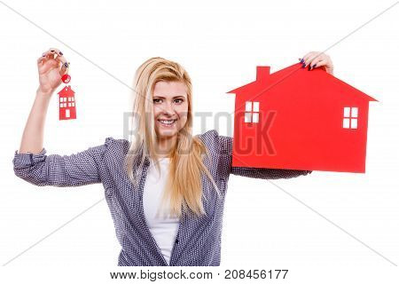 Woman Holding Red Paper House And Key